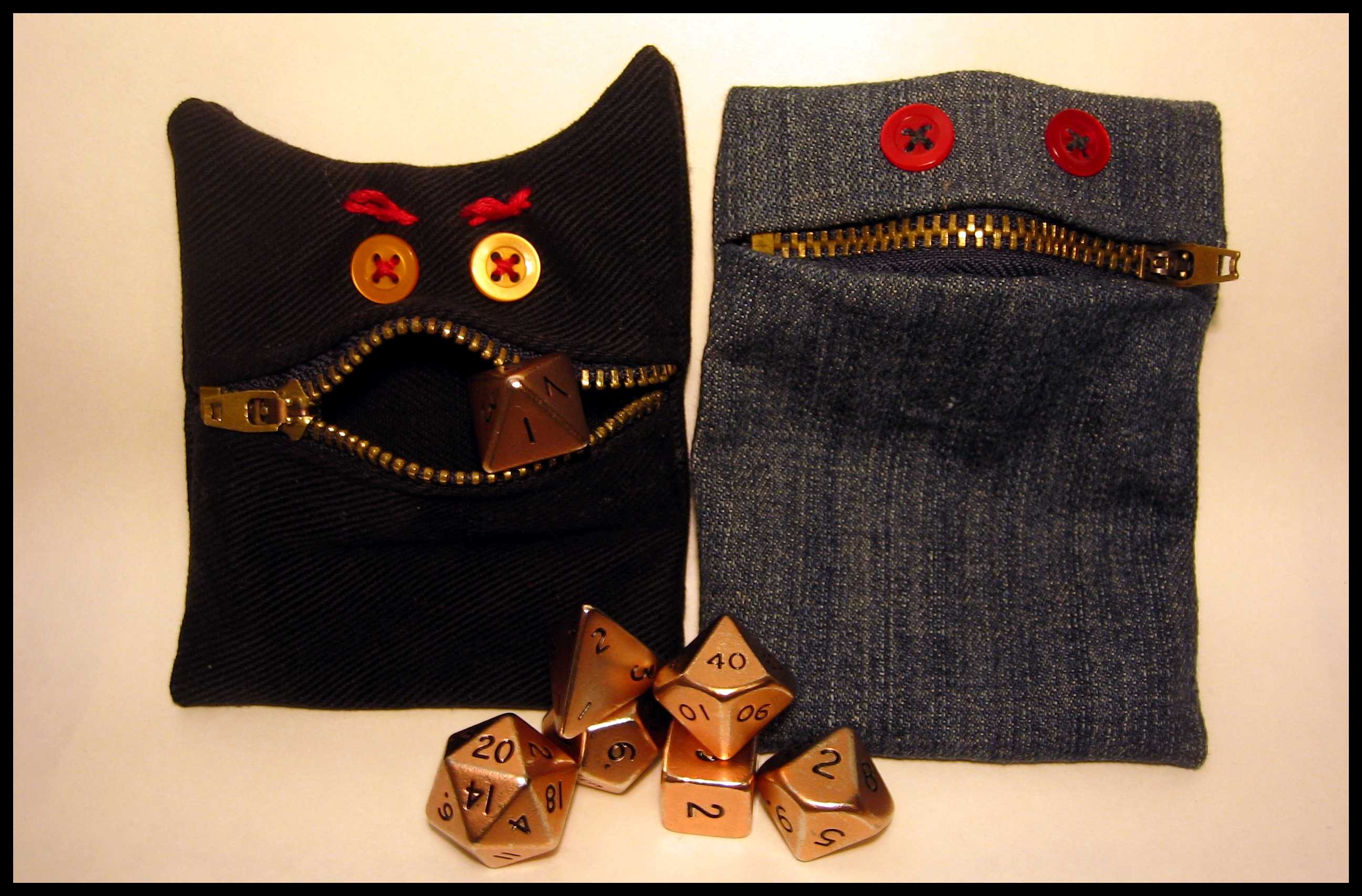 Denim Monster Dice Pouch
