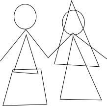 Rough shapes used for wedding couple drawing