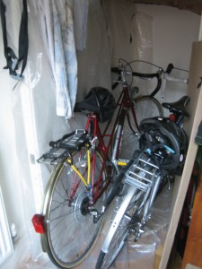 Red bicycle in the bike storage space